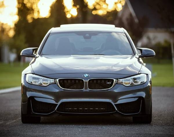 front of a BMW